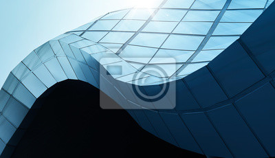 Obraz Modern architecture business building abstract curve line details steel facade background .