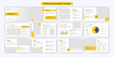 Obraz Modern architecture PowerPoint presentation slide template design. Use for modern keynote presentation background, brochure design, website slider, landing page, annual report, company profile.