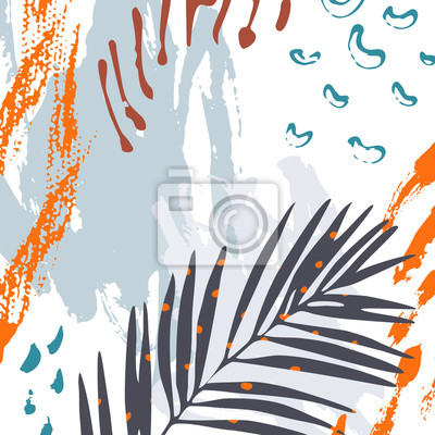 Modern art illustration with tropical leaves, grunge, marbling textures, doodles, minimal elements.