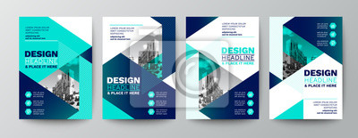 Obraz modern blue and green design template for poster flyer brochure cover. Graphic design layout with triangle graphic elements and space for photo background
