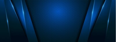Obraz Modern Blue Background with Futuristic Overlap Layered Style Concept.