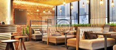 Obraz Modern cafe design interior with a brick wall. Loft design. Coffee shop, cafe.