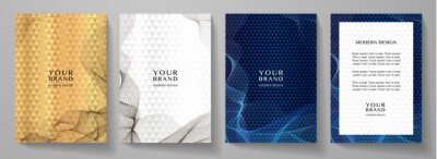 Obraz Modern cover design set. Abstract line pattern (guilloche curves). Creative wavy stripe vector collection layout for business background, certificate, brochure template