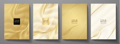 Obraz Modern cover design set. Gold abstract line pattern (guilloche curves) in premium gold color. Luxury golden stripe vector layout for business background, certificate, brochure template