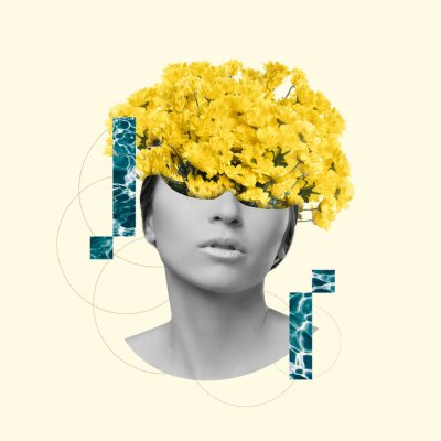 Obraz Modern design, contemporary art collage. Inspiration, idea, trendy urban magazine style. Female beauty portrait with flowers on pastel background