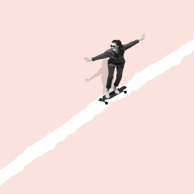 Obraz Modern design, contemporary art collage. Inspiration, idea, trendy urban magazine style. Woman riding on skateboard on pastel background