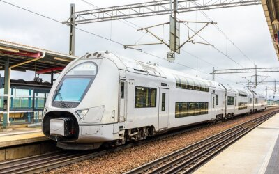 Obraz Modern double-decker train in Sodertalje syd station - Sweden