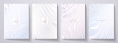 Obraz Modern elegant cover design set. Luxury fashionable background with abstract line pattern in silver, blue, color. Elite premium vector template for menu, brochure, flyer layout, presentation