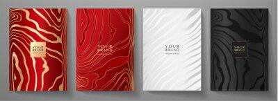 Obraz Modern elegant cover design set. Luxury fashionable background with line pattern in gold, black, red, silver color. Elite premium vector template for menu, brochure, flyer layout, presentation