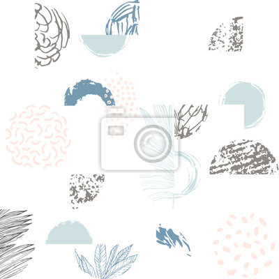 Modern illustration with line art of tropical leaves, grunge textures, doodles, geometric elements.