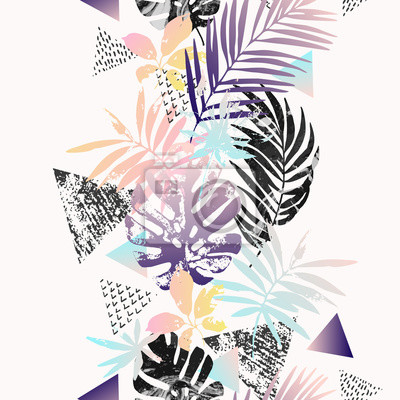 Modern illustration with tropical leaves, palm tree, marble, grunge textures, doodles, geometric, minimal elements.