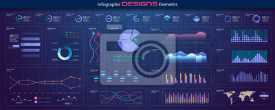 Modern network management data screen with colored charts and diagrams with steps, options, parts or processes. Diagram template and chart graph, graphic information visualization illustration