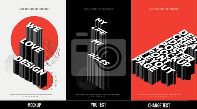 Obraz Modern poster design template 3D Text Effect Mockup /full editable