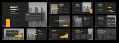 Obraz Modern powerpoint presentation templates set. Use for modern keynote presentation background, brochure design, website slider, landing page, annual report, company profile.