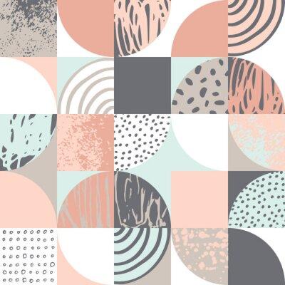 Modern seamless geometric pattern: semicircles, circles, squares, grunge textures, doodles
