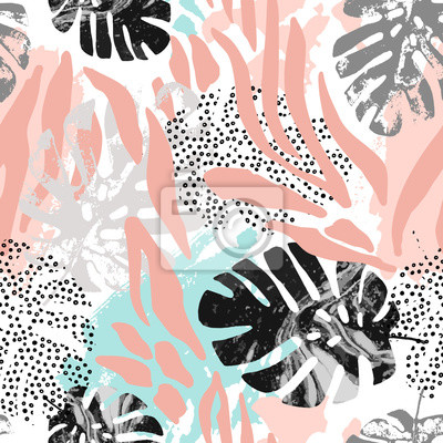 Modern seamless pattern with animal skin print and botanical tropical leaves