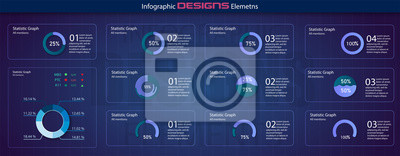 Modern set of circle percentage diagrams. Infographic diagram vector interface. Minimalistic infographic template with flat design daily statistics graphs. diagrams, statistics graphs. Vector
