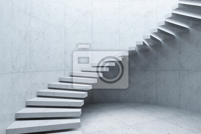 Obraz modern staircase in concrete interior, 3d rendering