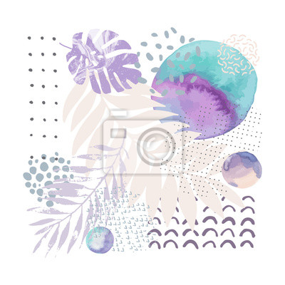 Modern vector illustration with tropical leaves, grunge, marbling, watercolor textures, doodles, minimal elements