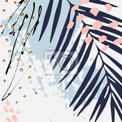 Modern vector illustration with tropical leaves, grunge texture, doodles, minimal elements.