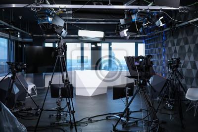 Obraz Modern video recording studio with professional cameras