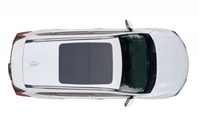 Obraz Modern white suv car with sun roof isolated above top drone view