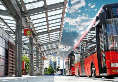 Obraz Moderne Bushaltestelle mit Stadtbus - Urban Bus Station