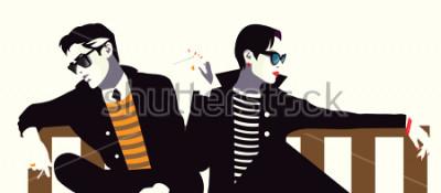 Obraz Modny mężczyzna i kobieta w stylu pop art.