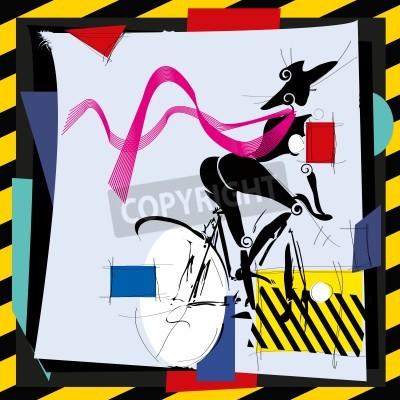 Obraz mody dziewczyna rowerem kubizm nowoczesności