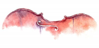 Obraz mokre umyć skrzypce akwarela na białym tle