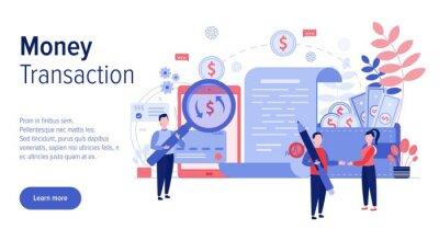Money transaction web banner template, vector flat illustration
