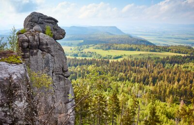 Monkey rock formation on Szczeliniec Wielki, Stolowe Mountains National Park, Poland.