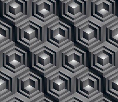 Obraz Monochromatyczne streszczenie teksturowanej geometrycznych bez szwu deseniu, 3d