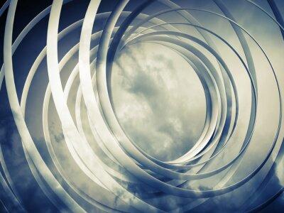Obraz Monochromatyczny stonowanych spirali streszczenie 3d tło z chmurami