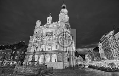 Monochromatyczny zdjęcie Starym Rynku w Poznaniu.