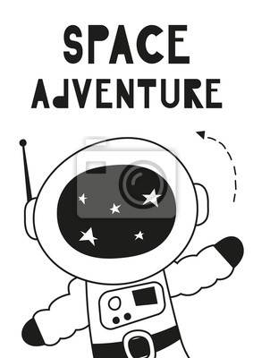 Monochrome childish poster for nursery scandi design with cute spaceman in Scandinavian style. Vector Illustration. Kids illustration for baby clothes, greeting card, wrapper. Space adventure.