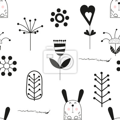 Monochrome childish seamless pattern with cute hare and flowers in Scandinavian style. Vector Illustration. Kids illustration for nursery design. Great for baby clothes, greeting card, wrapping paper.