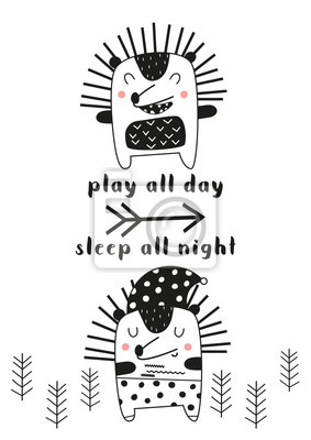 Monochrome poster for nursery scandi design with cute hedgehogs in Scandinavian style. Vector Illustration. Kids illustration for baby clothes, greeting card. Play all day, sleep all night.