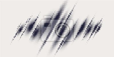 Obraz Monochrome printing raster, abstract vector halftone background.