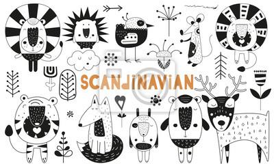 Monochrome scandinavian animals set. Hand drawn. Doodle cartoon characters for nursery poster, cards, t-shirts. Vector illustration. Bear, lion, tiger, hare, deer, hedgehog, mouse, fox, bird, flowers.