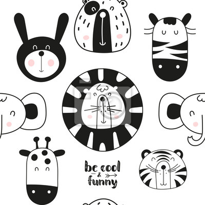 Monochrome seamless pattern with cute jungle animals in Scandinavian style. Vector Illustration. BW Kids illustration for nursery design. Great for baby clothes, greeting card, wrapping paper.