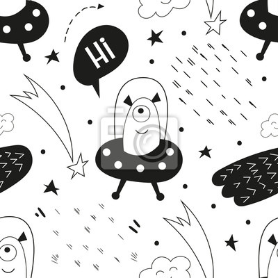Monochrome seamless pattern with cute space characters - aliens in ufo in Scandinavian style. Vector Illustration. Kids poster for nursery. Great for baby clothes, greeting card, wrapping paper.
