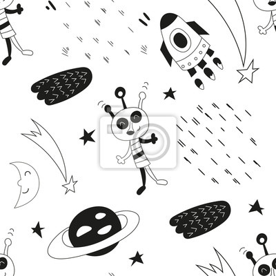 Monochrome seamless pattern with cute space characters - aliens, rockets in Scandinavian style. Vector Illustration. Kids poster for nursery. Great for baby clothes, greeting card, wrapping paper.