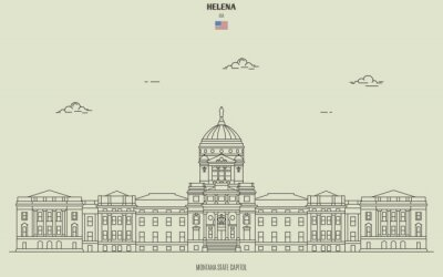 Montana State Capitol in Helena, USA. Landmark icon