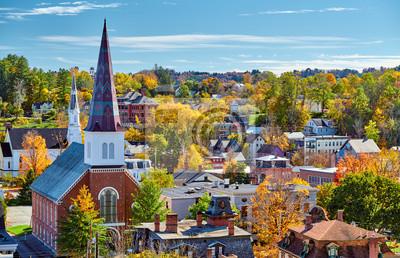 Obraz Montpelier town skyline at autumn in Vermont, USA