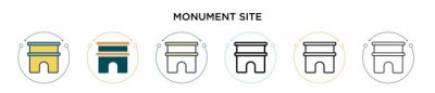 Obraz Monument site icon in filled, thin line, outline and stroke style. Vector illustration of two colored and black monument site vector icons designs can be used for mobile, ui, web