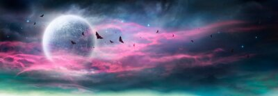 Obraz Moon In Spooky Night - Halloween Background With Clouds And Bats