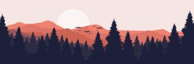 Obraz moonrise in mountain landscape vector illustration design for wallpaper design, design template, background template, and tourism design template