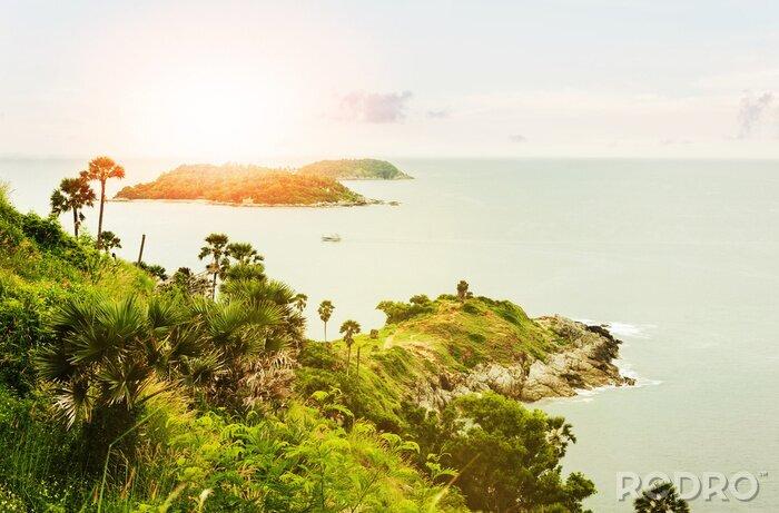 Obraz Morska z wyspy w świetle rano i przez światło