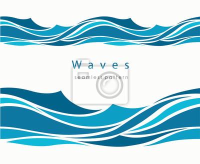 Obraz Morski wzór z stylizowane fale na jasnym tle